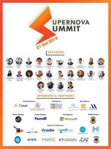 SUPERNOVA SUMMIT conference & LawTech Hackhaton Venue : Found 8, KL Sentral (as invited panel speaker & mentor) Date: 19-21 October 2019